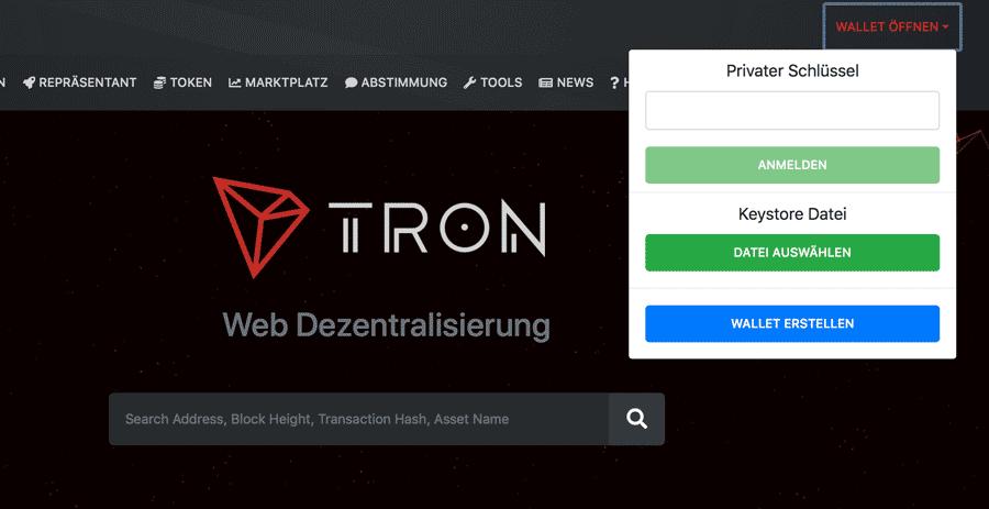 Tron-Wallet-erstellen