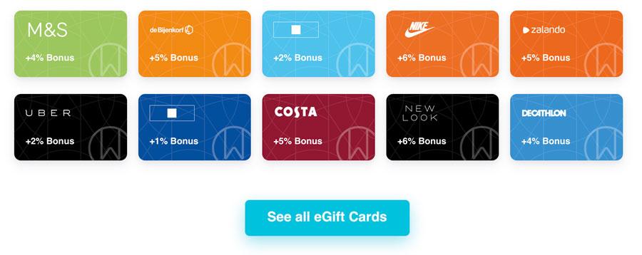 Coinbase-Geschenkkarten-Auswahl