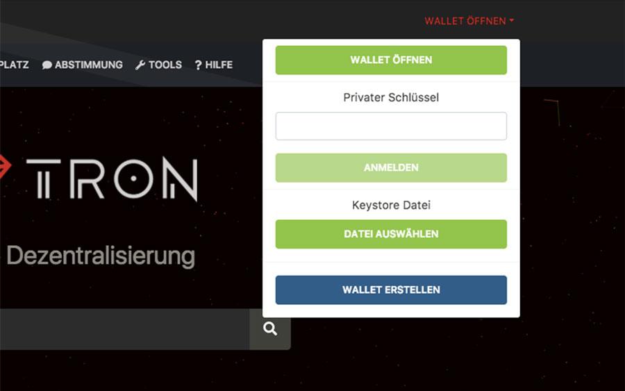 TRON-Ledger-Wallet-oeffnen
