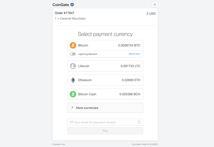 CoinGate-Zahlungsabwicklung