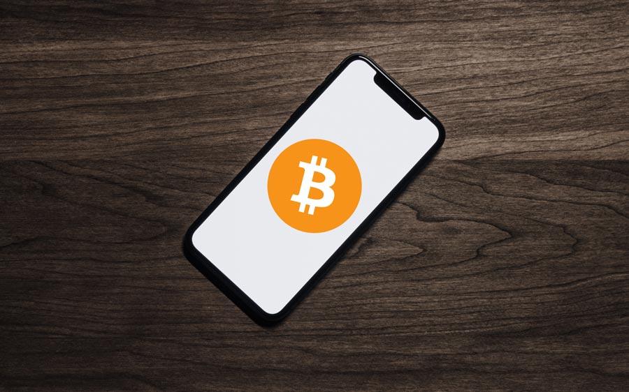 iPhone-mit-Bitcoin-Logo