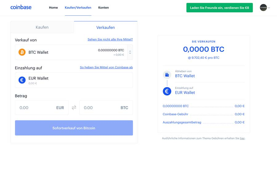 Bitcoin kaufen bei Coinbase
