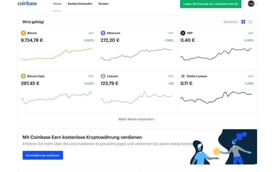 Coinbase Bitcoin Börse