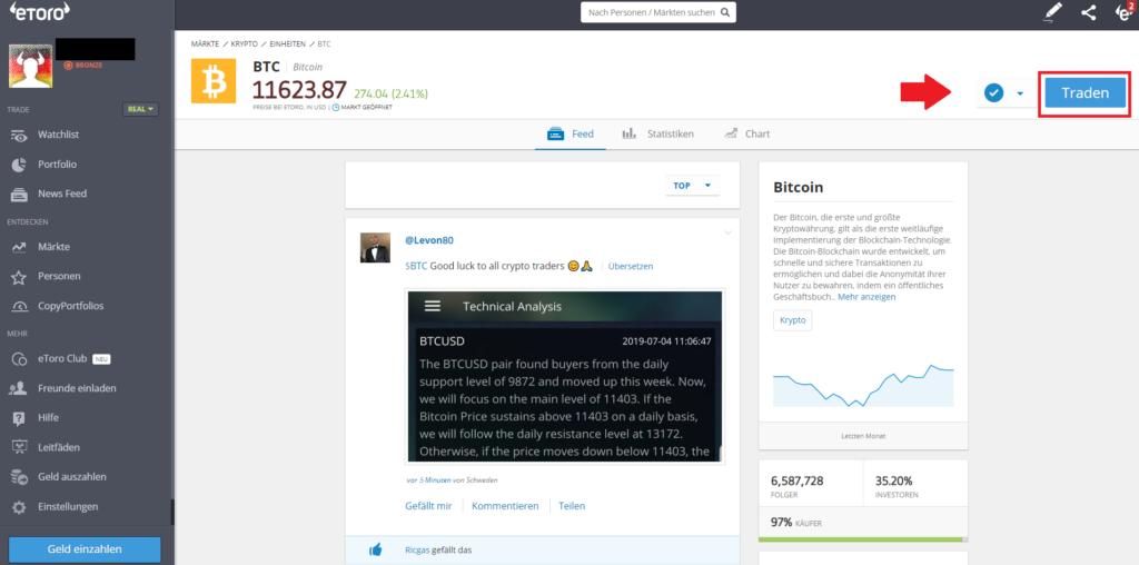 Bei eToro echte Bitcoin kaufen