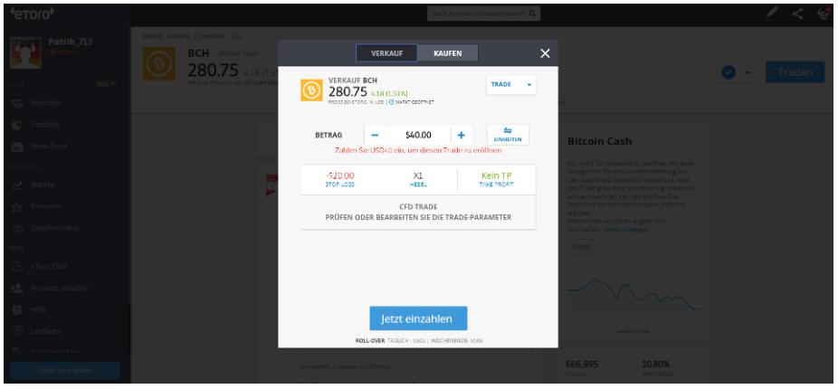 Bitcoin Cash CFD beim Broker eToro verkaufen