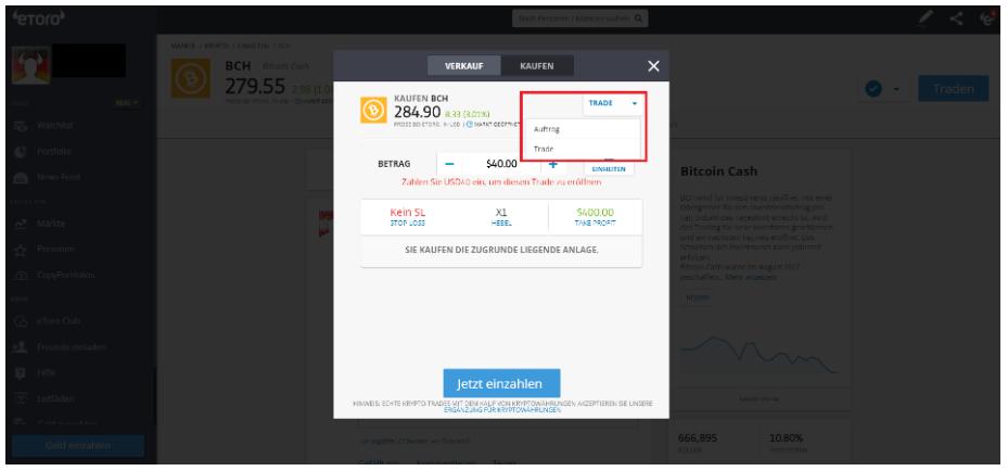 Bitcoin Cash kaufen bei eToro - Auftrag oder Trade platzieren