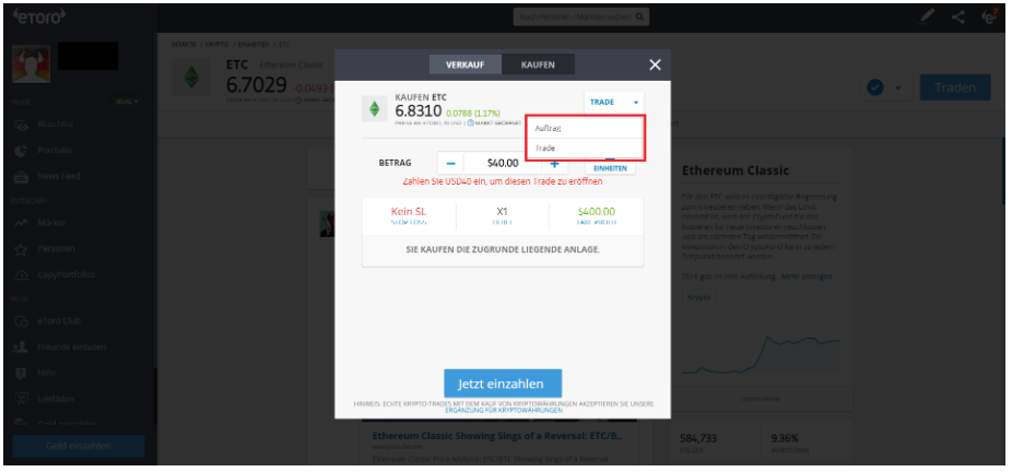 Ethereum Classic kaufen bei eToro - Auftrag oder Trade platzieren