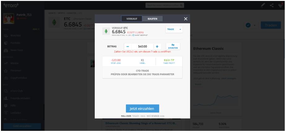 ETC CFD traden beim Online-Broker eToro