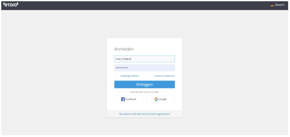 eToro Login-Bildschirm