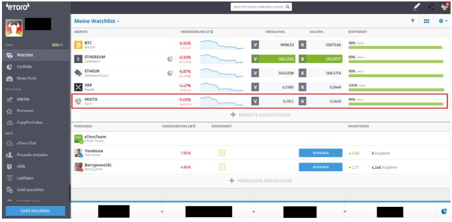 Iota kaufen beim Broker eToro - Die Watchlist im Blick