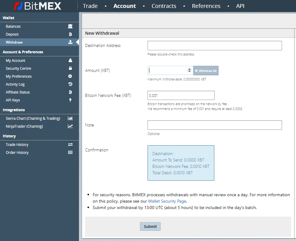 Auszahlung bei Bitmex vornehmen