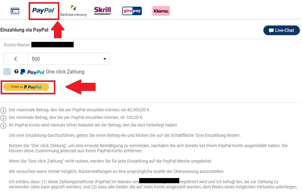 Geld einzahlen beim Online-Broker Plus500 mit der Zahlungsmethode PayPal