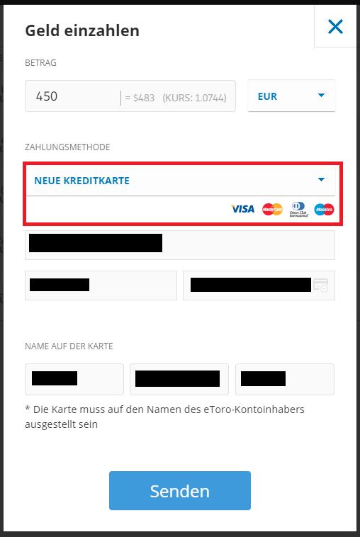 Mit Kreditkarte Geld einzahlen bei der beliebten Plattform eToro