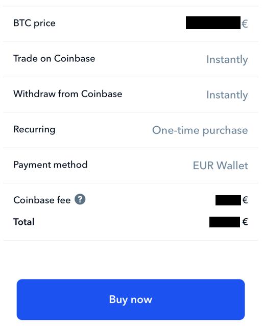 Bitcoin Kauf mit Buy Now bestätigen - Coinbase