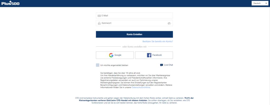 Registrierung beim CFD-Broker Plus500