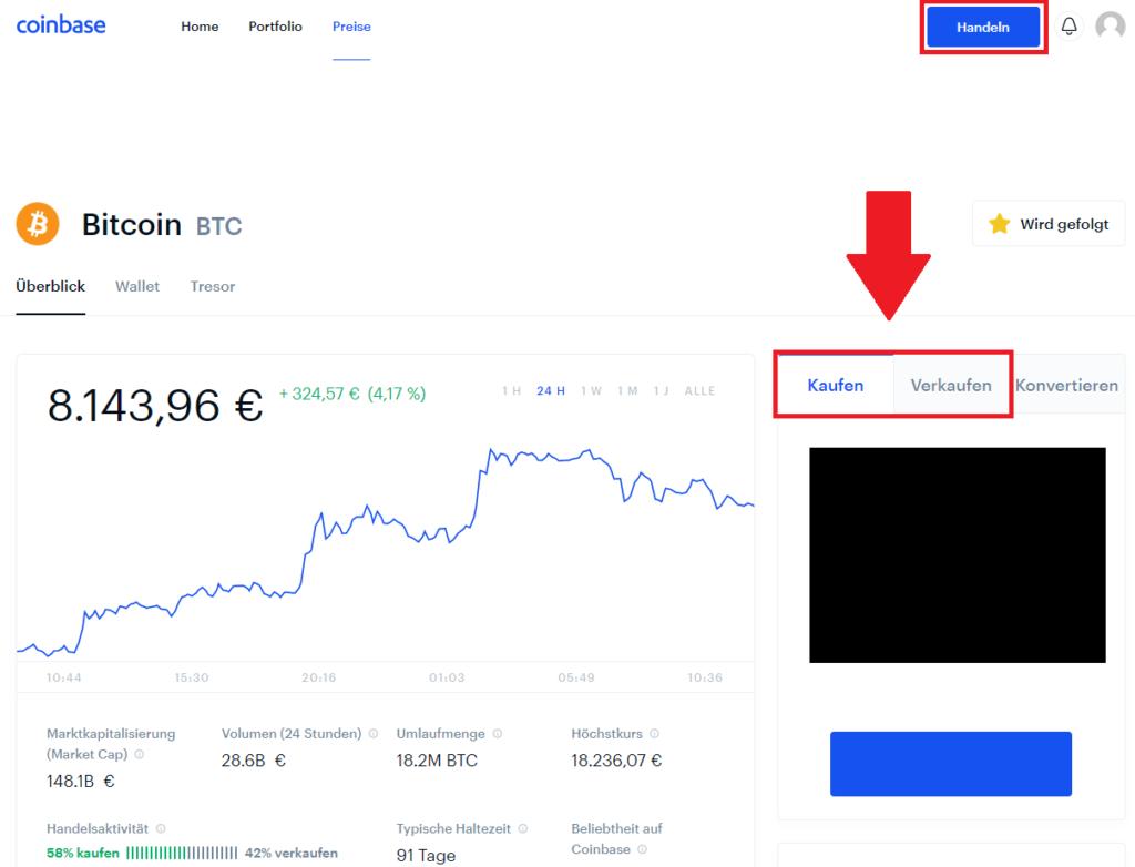 Bitcoin kaufen bei der Krypto-Börse Coinbase