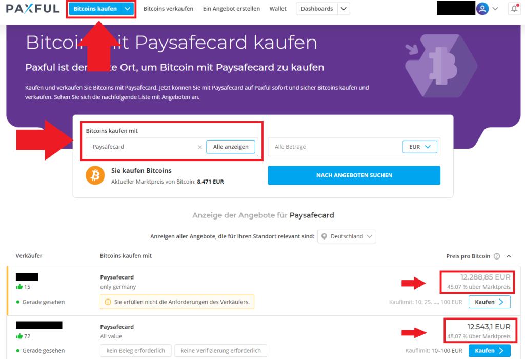 Bitcoin mit Paysafecard kaufen bei Paxful