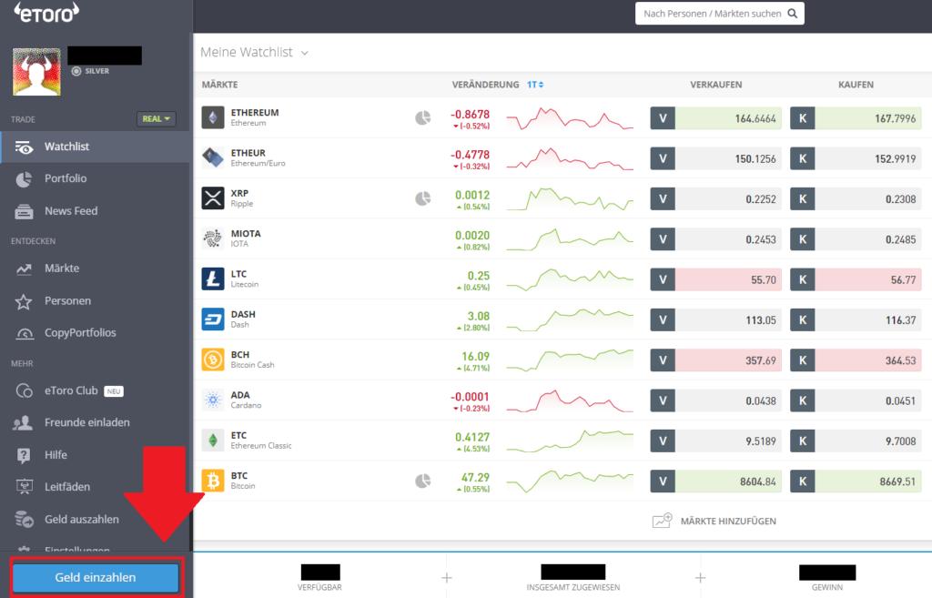Bitcoin kaufen - Geld einzahlen beim Social-Trading Broker eToro