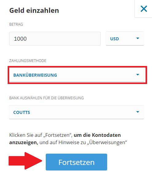Bitcoin kaufen - Geld einzahlen beim Social Trading-Broker eToro mit Banküberweisung