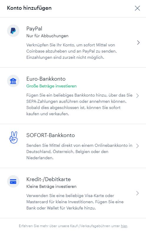 Auswahl der Zahlungsmethode bei der Krypto-Börse Coinbase