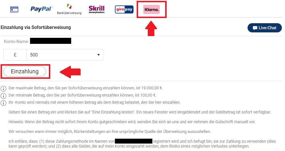 Bitcoin kaufen mit Sofortüberweisung bei Plus500 mit Anbieter Klarna