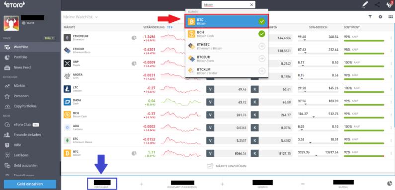 Bitcoin kaufen mit Kreditkarte - Auswahl von BTC um zu traden