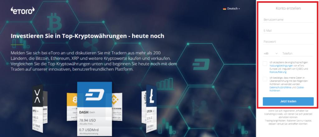 Bitcoin kaufen mit Kreditkarte - Registrierung beim Broker eToro