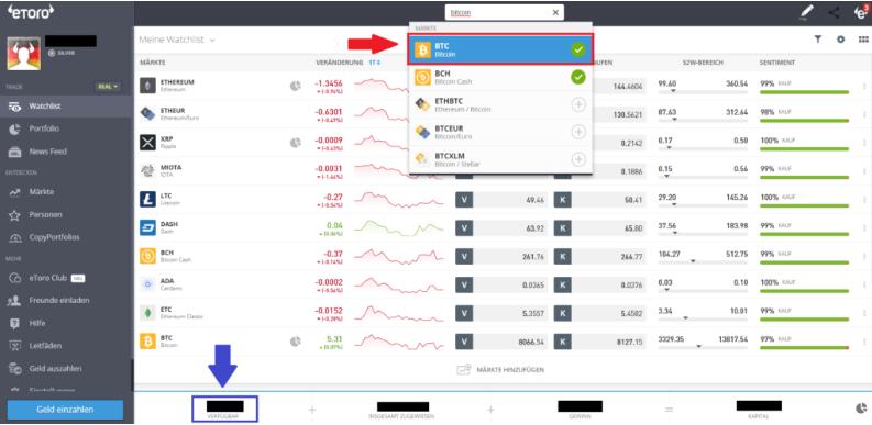Bitcoin kaufen - Den Markt Bitcoin zum Kauf des Assets auswählen