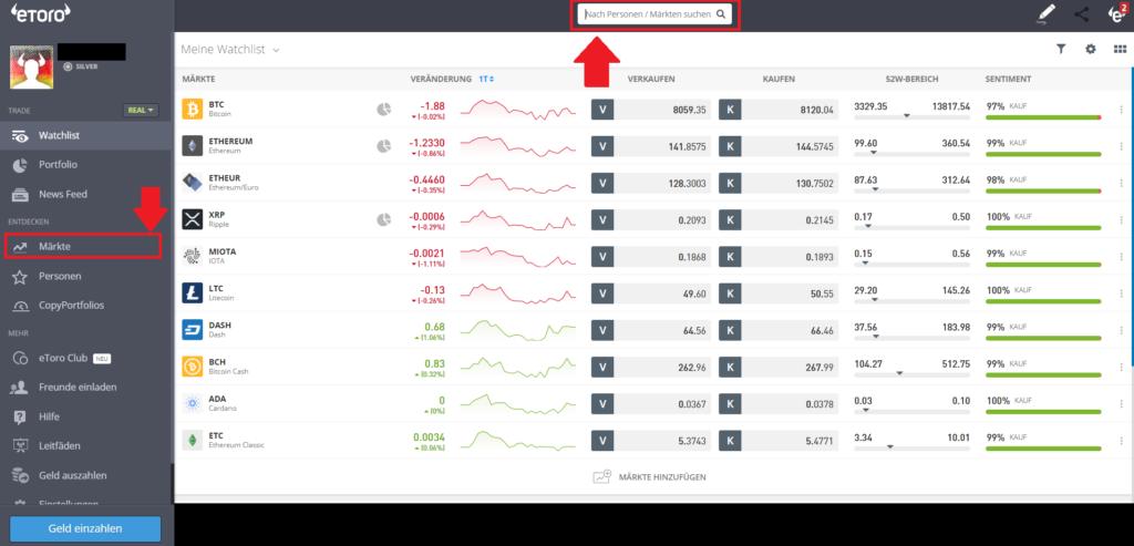 Bitcoin mit Paypal kaufen - Hinzufügen eines Marktes in die Wachtlist