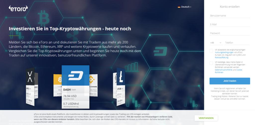 Bitcoin kaufen bei Paypal - Die Registrierung beim Online-Broker eToro