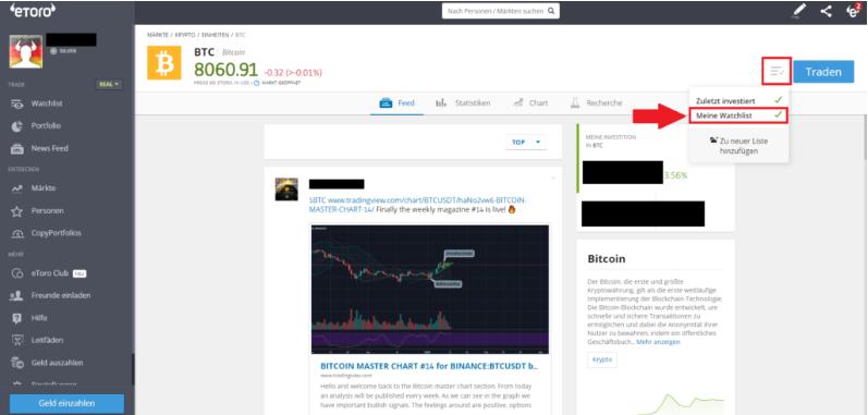Kryptowährung Bitcoin zur Watchlist hinzufügen