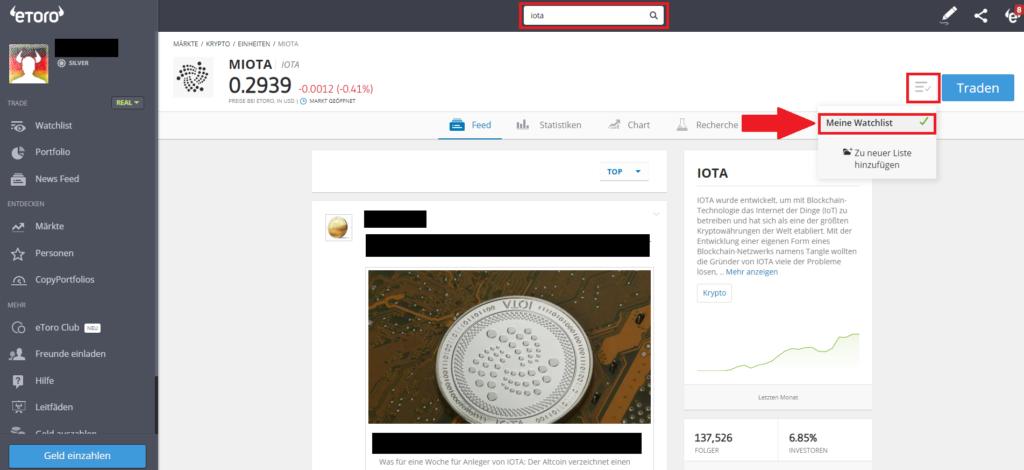 Iota in die Watchlist bei eToro hinzufügen