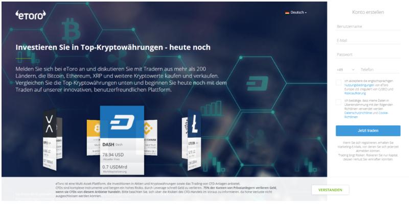 Die Registrierung beim Broker eToro um Iota mit PayPal zu kaufen