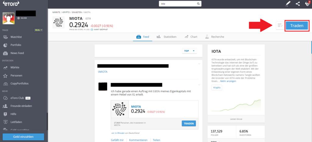 Klick auf den blauen Iota-Traden Button