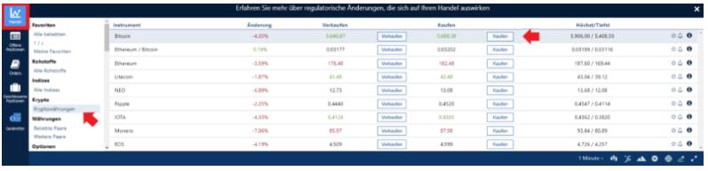Kaufen Button klicken um Trade mit SEPA zu setzen bei Plus500