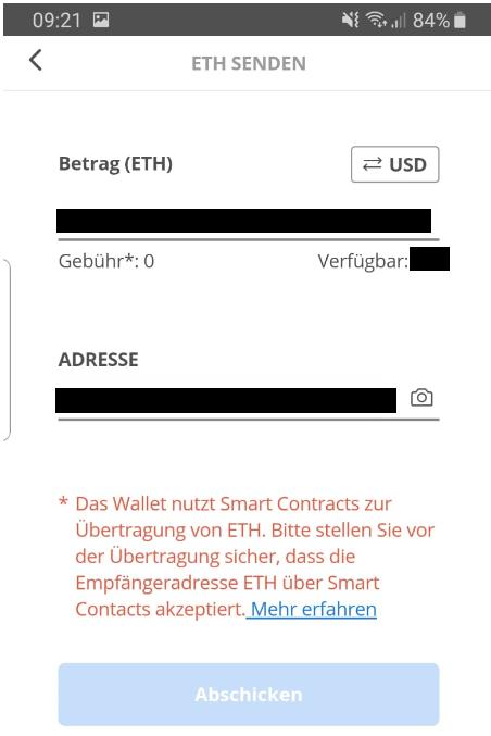 Mit dem eToro Wallet ETH senden