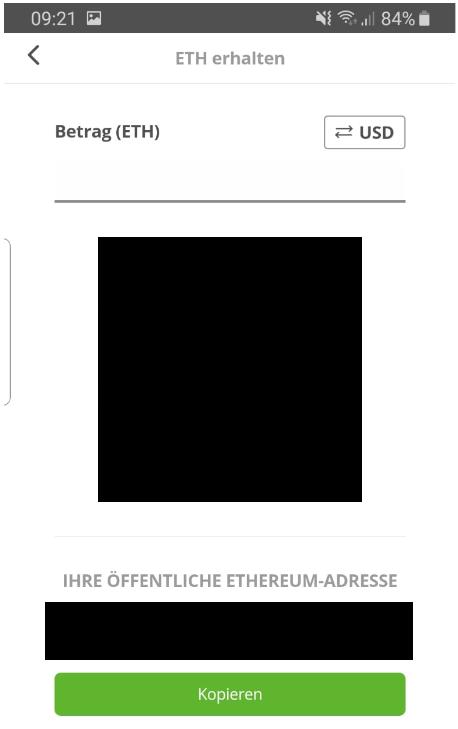 Ethereum auf dem eToro Wallet empfangen