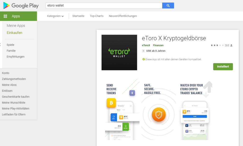 eToro Wallet auf dem Smartphone herunterladen
