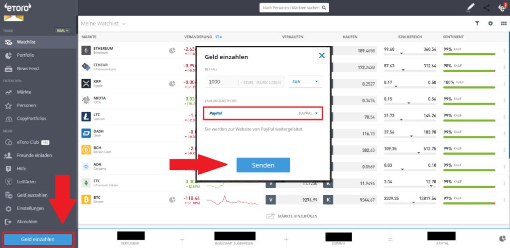 Geld bei eToro mit PayPal einzahlen
