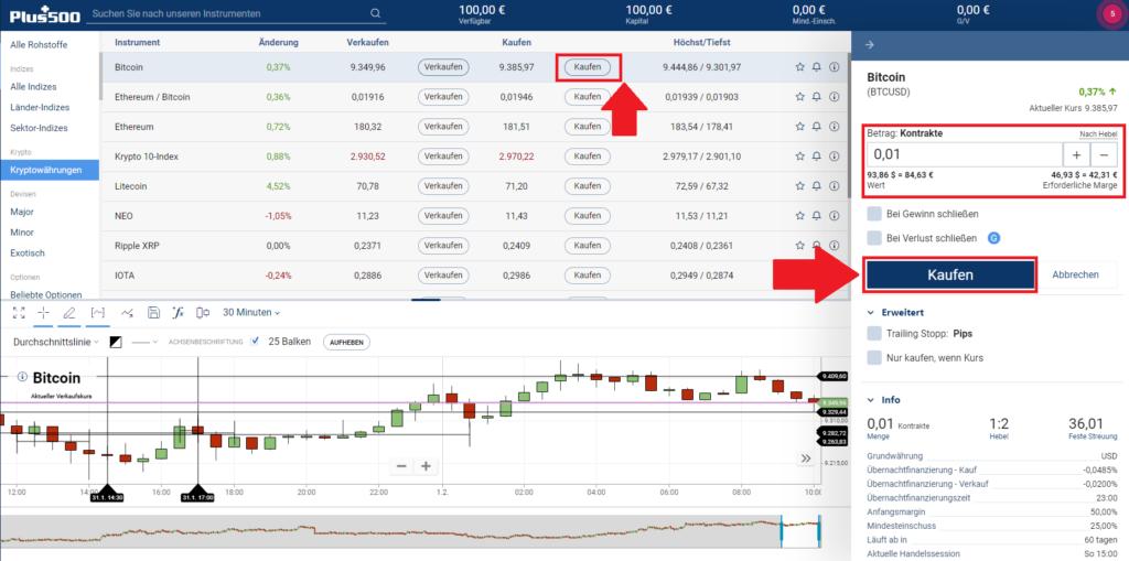 Bitcoin Plus500 kaufen - Long-Trade platzieren