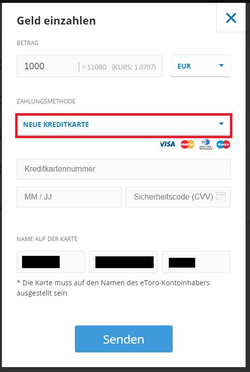 Bitcoin bei eToro mit der Zahlungsmethode Kreditkarte einkaufen