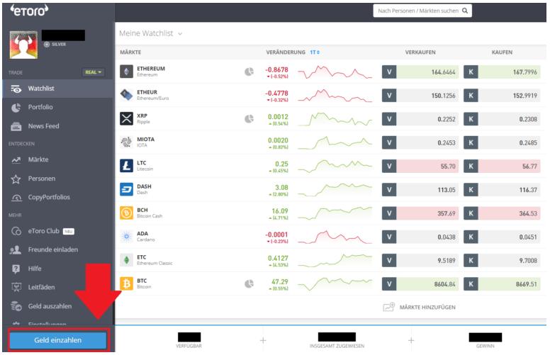 Button Geld einzahlen beim Social-Broker eToro