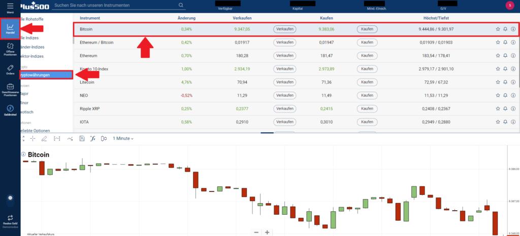 Markt Bitcoin bei Plus500 auswählen
