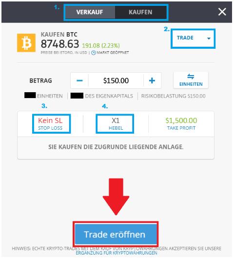 Der Kauf von Bitcoin im Detail erklärt - Trade eröffnen