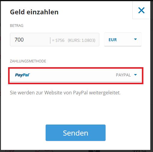 BTC kaufen eToro - Einzahlung mit Paypal - Wahl des DropDown
