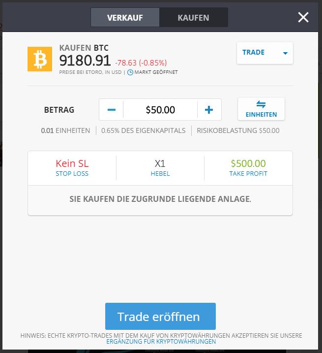 Bitcoin kaufen bei eToro - Schnellanleitung Trade ausführen