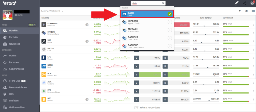 Dash mit PayPal - Auswahl Markt Dash