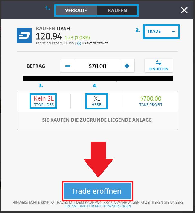 Trade Dash bearbeiten und Dash kaufen