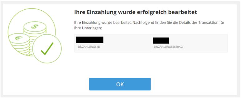 Die Einzahlung mit PayPal war erfolgreich bei eToro