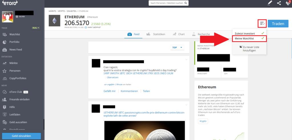 Ethereum Markt-Übersicht beim Social-Broker eToro